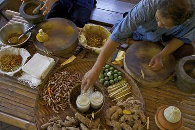 Two people prepare herbal medicines to be applied to the skin using ingredients such as Curcuma zedoary (White turmeric), bergamots, ginger and lemon grass in Nahon pathos in Thailand