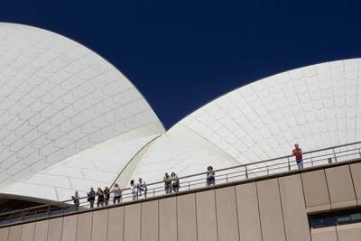 Details of the white tiled roof of the Sydney Opera House in Sydney, New South Wales in Australia
