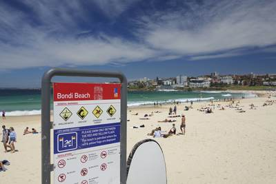 Golden yellow sand of Bondi Beach in Sydney, New South Wales in Australia