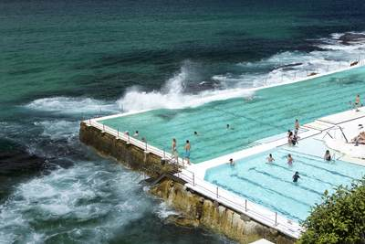 Located at the southern end of Bondi Beach, Bondi Icebergs Club swimming pool lido is an international landmark at Bondi Beach in Sydney, New South Wales in Australia