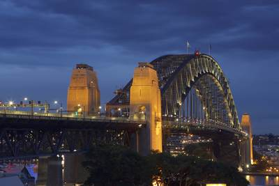 Metal Sydney Harbour bridge in Sydney at dusk, in New South Wales in Australia