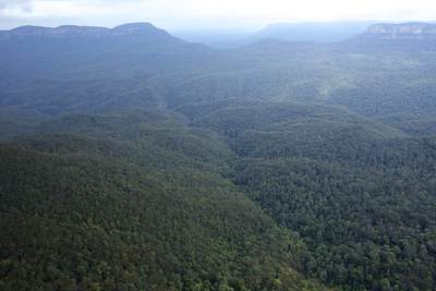 The Blue Mountains - a region west of Sydney in Australia's New South Wales, known for dramatic scenery encompassing steep cliffs and eucalyptus forests in New South Wales, Australia