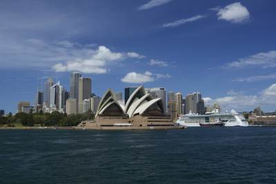 View of the Sydney skyline viewed from the water in Sydney on a sunny morning, New South Wales, Australia