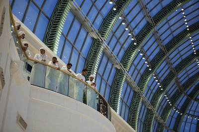 View of a balcony with a row of arabs arab muslims muslim in the Emirates mall in Dubai, United Arab Emirates UAE in Asia