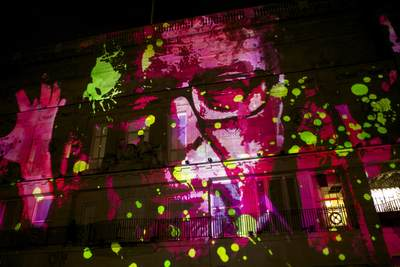 The facade of the BAFTA building in Piccadilly continually 'morphing' into different images in time to specially composed music - '195 Piccadilly' by Novak, during the Lumiere London 2016 in the United Kingdom