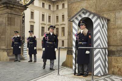Soldiers taking part in the Changing the Guard in the first courtyard of Prague Castle at 12:00 daily in the Czech Republic in Europe