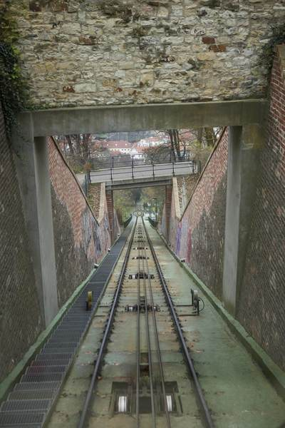 View down a funicular in the grounds of Prague Castle in the Czech republic