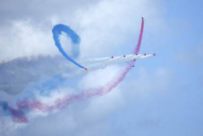The Red Arrows aerobatic team of the Royal Air Force (RAF) on display at the Eastbourne Air Show in 2017 in South East England, United Kingdom Europe