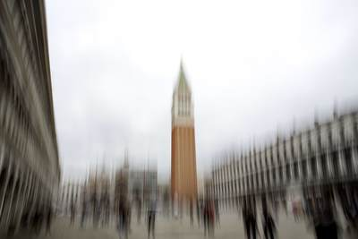 View across St Marks Square (San Marco) in Venice using intentional camera movement ICM in Italy Europe