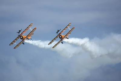 Breitling Wingwalkers - during the display the Boeing Stearman planes reach speeds of 150 mph with G forces of up to 4G, at the Eastbourne Air Show in 2017 in South East England, United Kingdom Europe
