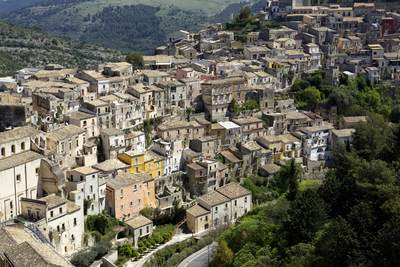 View down onto the stone buildings of the ancient city of Ragusa Ibla in South West Sicily, Italy Europe