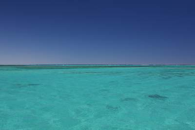 The blue Indian Ocean and the Ningaloo fringe reef near Exmouth in North West Australia