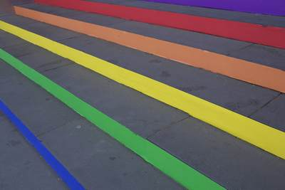 Colourful rainbow stairs at the entrance to the Immigration Museum in Flinders Street, Melbourne, Victoria, Australia