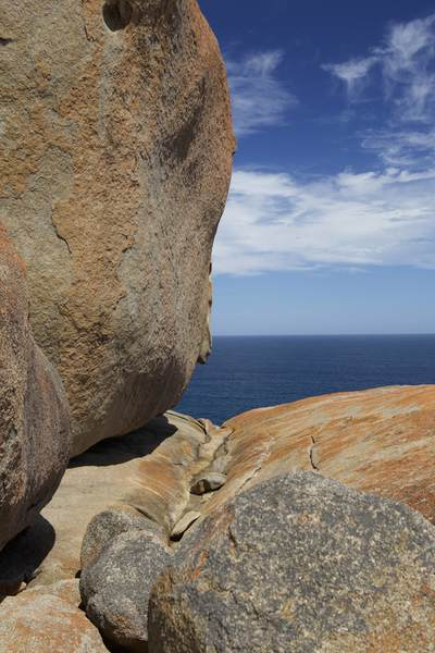 Remarkable Rocks - naturally sculpted granite formations precariously balanced atop a granite outcrop in Flinders Chase National park on Kangaroo Island in South Australia
