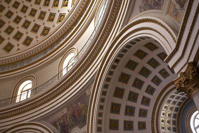 Domed ceiling of Mosta church built in 1833 to a design by architect George Grognet de Vasse, modelled on the dome of the Pantheon in Rome in the centre of the town of Mosta in Malta, Europe