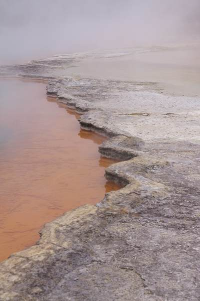 Champagne Pool with steam rising - a hot spring with minerals such as sulphur, arsenic, gold and antimony deposited on the surrounding sinter ledge giving the bright colours near Rotorua on North Island New Zealand