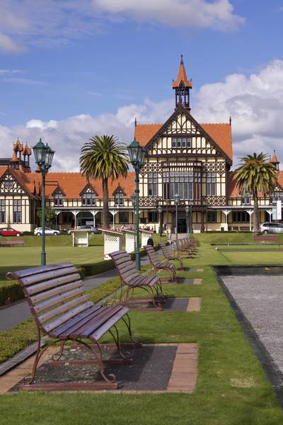 The Elizabethan-style Bath House in Government Gardens housing the Rotorua Museum of Art and History (Maori - Te Whare Taonga o Te Arawa), with the croquet lawns in the foreground in Rotorua on North Island New Zealand