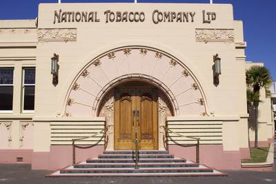The National Tobacco Company Building (The Rothmans Building) a monument to Gerhard Husheer (a member of the New Zealand tobacco industry) and an important Art Deco building in Ahuriri (suburb of Napier), built in 1933 on North Island New Zealand