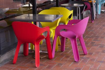 Colourful Chairs create seating outside of a cafe in Wellington New Zealand