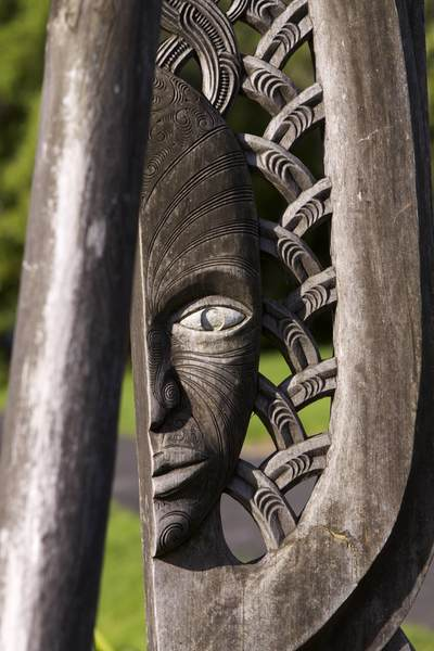 Carved wooden Maori sculpture in Russell on North Island New Zealand