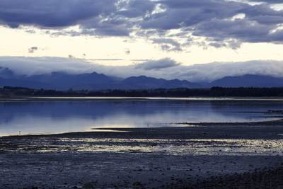 View across the Tasman Bay viewed from the foreshore of Motueka Quay on South Island New Zealand