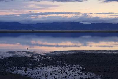 View across the Tasman Bay viewed from the foreshore of Motueka Quay South Island New Zealand