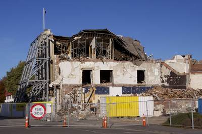 Remains of buildings in the Central Business District (CBD) of Christchurch destroyed by an earthquake on the 22 February 2011 killing 185 people on South Island New Zealand