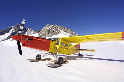 Pilatus Porter PC6 plane used by the Mount Cook Ski Planes company on the top of the Franz Josef Glacier on South Island New Zealand