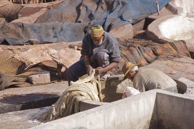Two men wearing hats working in a tannery preparing animal hides in poisonous vats of chemicals and pigeon droppings just off Rue Bab Debbagh in the Northern Medina of Marrakech Marrakesh in Morocco in Africa
