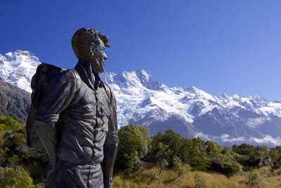 Sculpture of Sir Edmund Hillary by Bryn Jones unveiled in 2003, to commemorate Sir Hillary's links with Mount Cook on South Island in New Zealand