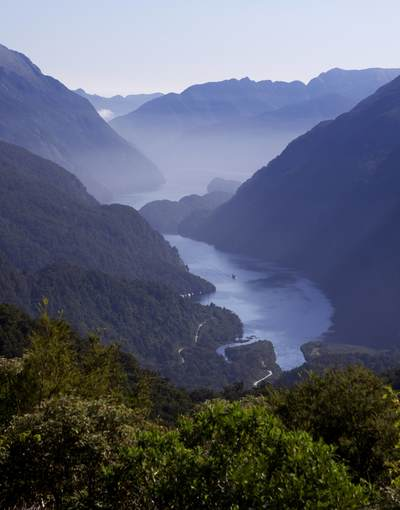 View down onto Doubtful Sound from Wilmot Pass on South Island in New Zealand