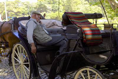 The owner of a horse and carriage used for tours around the town of Sintra takes a break during the heat of the afternoon in Portugal in Europe