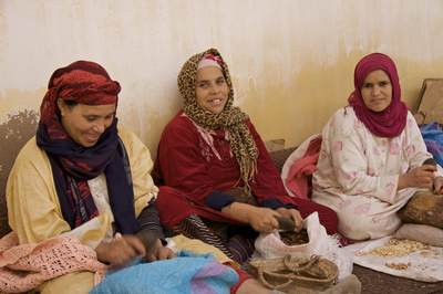 Three women working in an Argan oil co-operative wearing brightly coloured headscarves and grinding and splitting Argan nuts near Marrakech Marrakesh in Morocco in Africa