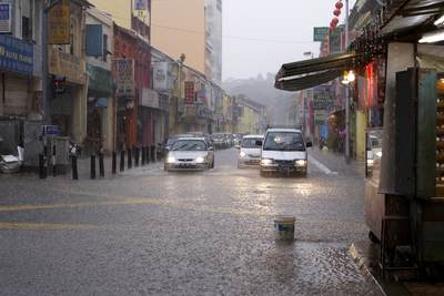 A seasonal monsoon in the Chinatown area of Kuala Lumpur, causing localised flooding in Malaysia