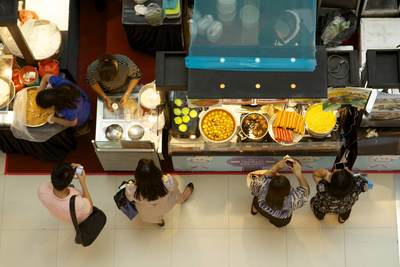 View down onto the food court in the Funan Digi-Life Mall, located on the junction of North Bridge Road and Coleman Street in Singapore
