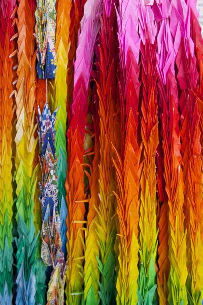 Hundreds of paper origami cranes hung around the Changi Museum in Singapore