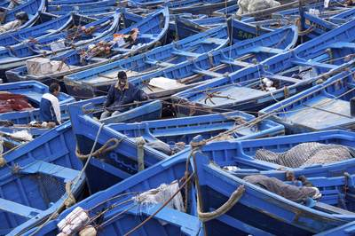 Two fishermen sorting ropes amongst many cobalt blue fishing boats protected by the  Skala du Porte and stone fortress of Essaouira in Morocco in Africa