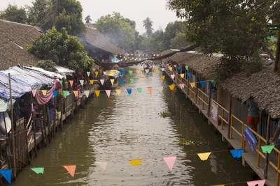 View along the klong (canal)  at the Klong Lad Mayom floating market, just outside of Bangkok in Thailand