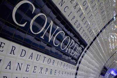 Close up of the tiled wall of the Concorde Metro station in Paris with décor created by artist Françoise Schein with tiles spelling the Déclaration des Droits de l'Homme et du Citoyen of 1789, France Europe
